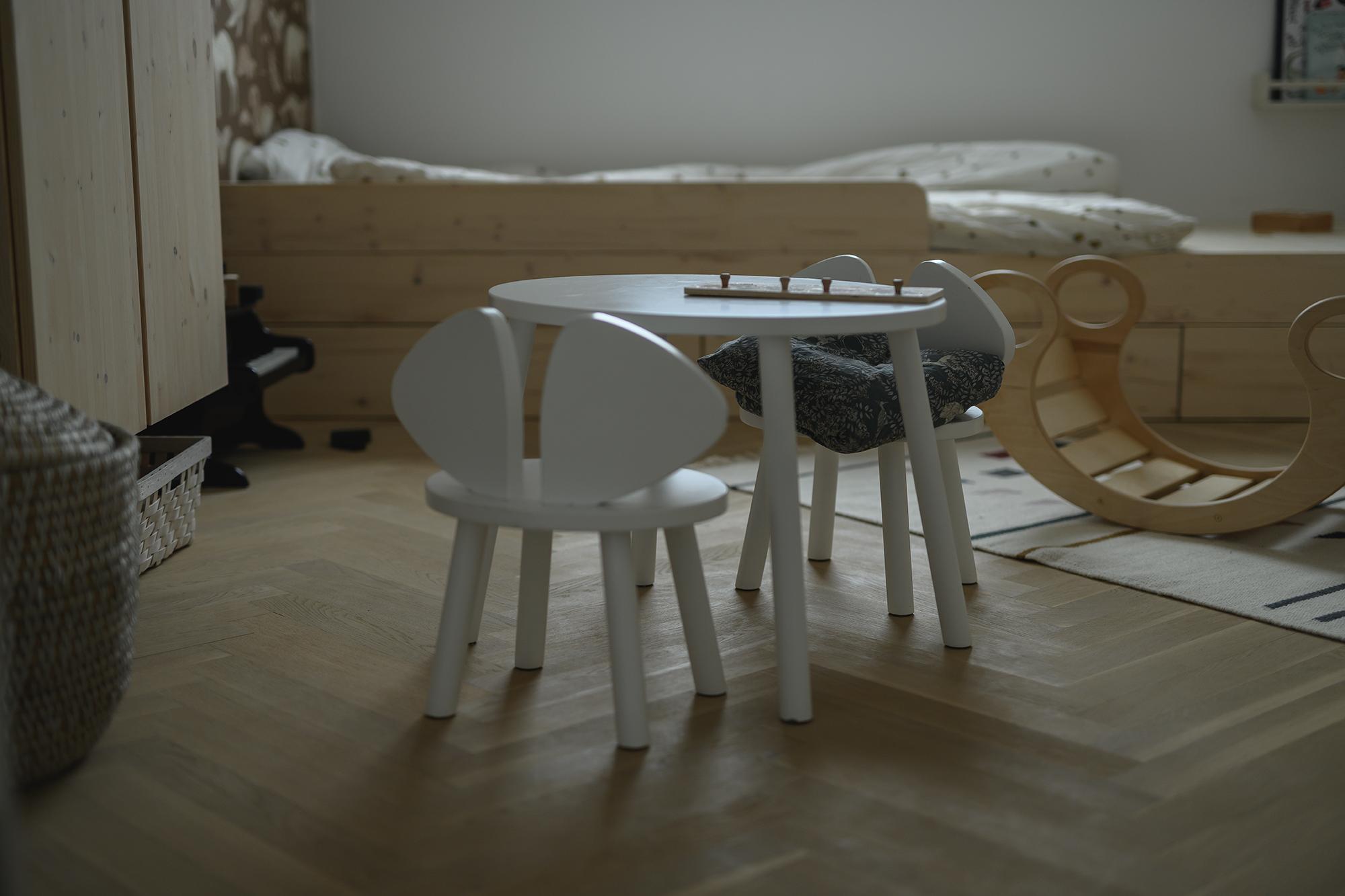 Das Zimmer meines jüngsten Sohnes mit viel Holz und der Tapete von Ferm Living.